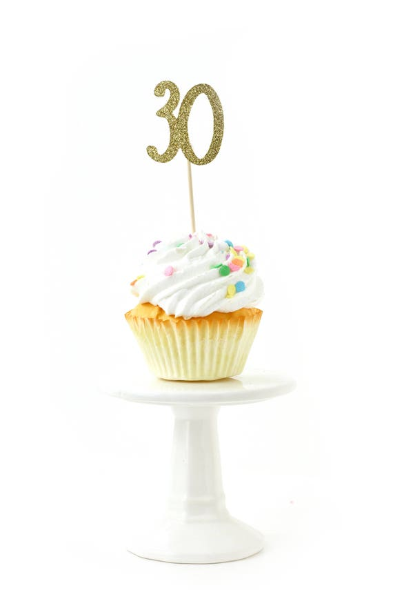 Number 30 Gold Glitter Cupcake Toppers, Number 30 Toothpicks Gold Party Decor Food Decoration Thirtieth Birthday 30th Birthday Dirty Thirty
