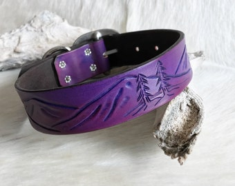 Leather dog collar with mountain landscape design tooled stained in purple