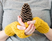 READY TO SHIP - Knit Fingerless Gloves, Hand Knitted Fingerless Mittens, Cable Knit Wool Winter Gloves, Winter Accessories