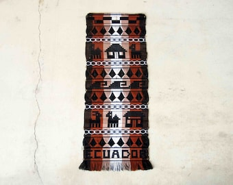 Vintage Mid Century Woven Wall Tapestry From Ecuador. Circa 1960's.