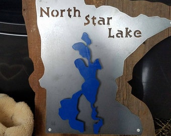 Steel and wood LAKE SIGN with customized lake