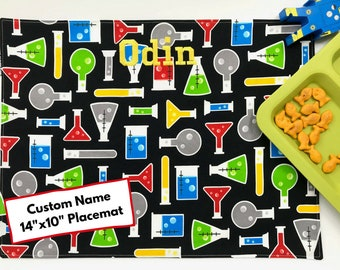 Custom Name Placemat (Science Placemat, Back To School, STEM Kids, Cotton Placemat, For Children, Montessori Lunch, Washable Placemat)