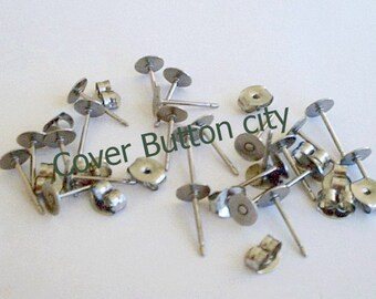48 Stainless Steel 5mm Earring Posts and Backs - 10.4mm Long