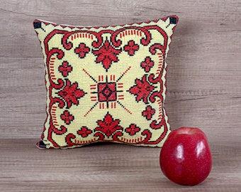 Cross stitch embroidered handmade pillowcase, cute geometric yellow red black European sham ~ rustic pillows for couch 10 x 10 (28 x 28 cm)