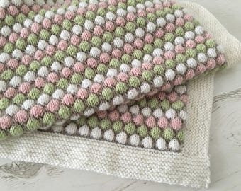 Knitting Pattern for Baby Blanket, Baby Blanket Pattern, Stroller Blanket PDF Pattern, Knit Blanket Pattern,  BUBBLE BLANKET