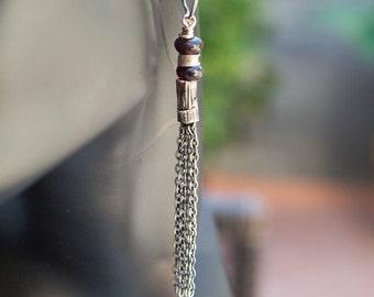 Artisan earrings, Tassel silver earrings,  Oxidized silver earrings, Long sterling silver earrings, Gemstone dangle earrings, Boho jewelry