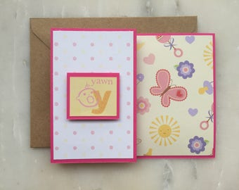 Y/Yawn Baby Card - A2, Handmade, Artisan, Yawn, Butterflies, Baby, Newborn, Z Shaped Card, Rattles, Sun