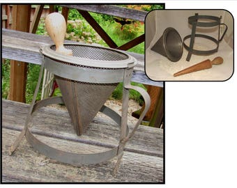 Vintage Kitchen Chinois Conical Cone Strainer Sieve, 3 piece, with Wooden Pestle, canning utensil