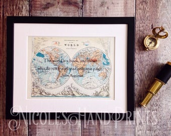 Old World Map Print, Travel Quote, The World is a Book, Vintage World Map, Travel Poster, Travel Gift, St Augustine, Custom World Map Print,