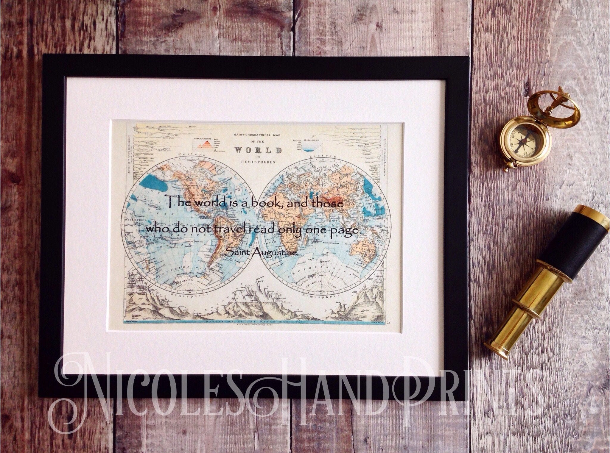 Old world map print travel quote the world is a book vintage old world map print travel quote the world is a book vintage world map travel poster travel gift st augustine custom world map print gumiabroncs Choice Image
