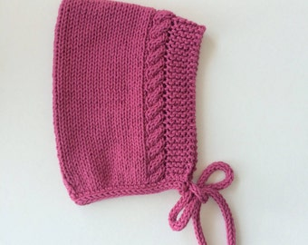 Cotton Cable Pixie Hat in Raspberry - Made to Order