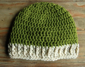 Spring Green Crochet Beanie with Ivory Tweed Cabled Brim - Adult Crochet Hat