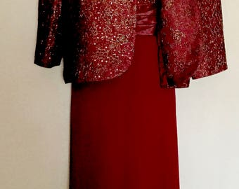 Vintage Two Piece Burgundy Brocade and Chiffon Evening Gown     VG330