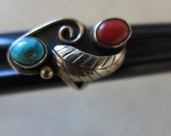 Red and Torquoise Silver Ring