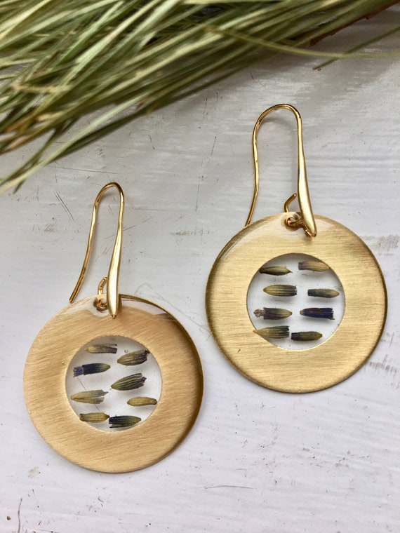 Lavender bud brass circle danglies