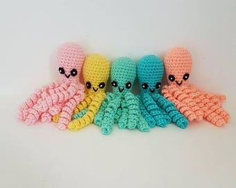 Octopus Toy, Octopus Toy with Tentacles, Crochet Octopus, Jelly Fish with Tentacles, Small Octopus, Baby Shower Gift - MADE TO ORDER