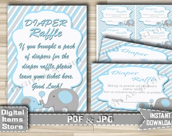 Printable Elephant Diaper Raffle Sign And Tickets - Elephant Diaper Cards and Sign With Blue Gray Elephant Theme - Instant Download - eb11