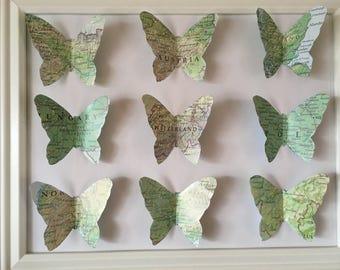 Paper Butterfly Art- paper butterflies-hand cut butterflies- map europe- paper art- butterfly art