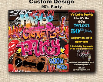 GRAFFITI Party Invitation DIGITAL invites with envelope - TAGGING - Paint Splatter - Hip Hop - 90's Party - 80's Party