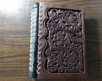 Carved wooden journal,handmade book,wooden notebook,sketchbook