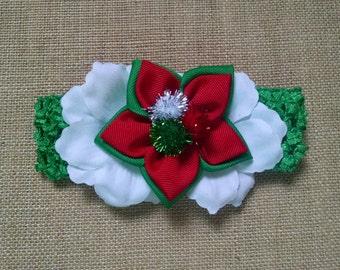 Christmas Headband, Kanzashi Headband, Holiday Headband, Baby Hair Accessory, Baby Girl Headband, Flower Headband, Red Christmas Bow