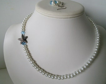 SALE Ready TO SHIP White Glass Pearls with Aqua Swarovski Crystals and Pewter Silver Starfish Pendant Necklace Set