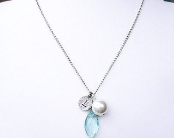Personalized grandmother retirement jewelry, unique sterling silver letter L necklace with bridal blue stone and rustic white pearl pendant