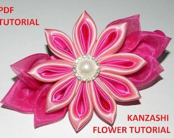 Kanzashi Flower PDF tutorial_Beak hair clip_Satin ribbon big Kanzashi flower!