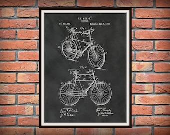 Patent 1898 Bicycle Art Print - Poster - Wall Art - Bike - Velocipede - 2 Wheel Bicycle - Antique Bicycle Drarwing