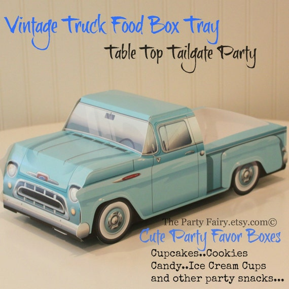 Car Food Tray6 Farm Party Blue Truck Box TrayTailgate Truck Food