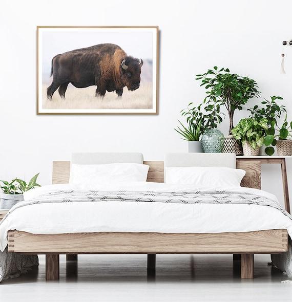 Bison Buffalo Wall Art Print, Digital Download, Photography, Printable Poster, Buffalo Photo, Large Bison Photography, Landscape Print