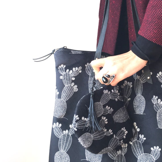 """""""Light"""" black and white velvet shopping bag, FICALINNI print, cactus shopping bag"""