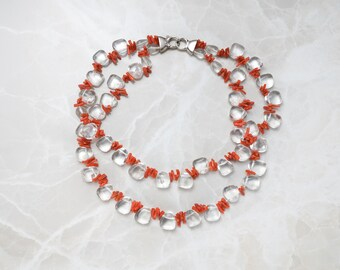 Coral and Crystal Necklace