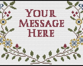Cross Stitch pattern Wildflower sampler Customized with Your Message