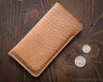 "iPhone 7 & 6 (4.7"") Horween Chromexcel leather sleeve case - tan croc print"