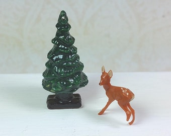 "MINIATURE WOODLAND DECOR, 1 1/2""  Tree and 3/4"" Deer, Plastics, Vintage Christmas, Holiday,  Forest, Dollhouse, Shadow Box, Supplies"