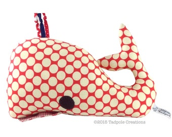 Red Spotty Whale Plush Pillow - New Baby Gift - Softie - Nautical Nursery Decor - New Baby Gift