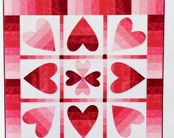 SALE Turning Hearts Quilt Pattern - Valentine's Day Quilted Wall Hanging Pattern - Heart Quilt Pattern - Love Quilt - CastillejaCotton CJC 5