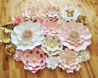 Paper Flowers - Set of 17 | Wedding Backdrop | Paper Flower Wall | Paper Flower Backdrop | Baby Nursery Decor | Photo Booth | Home Decor