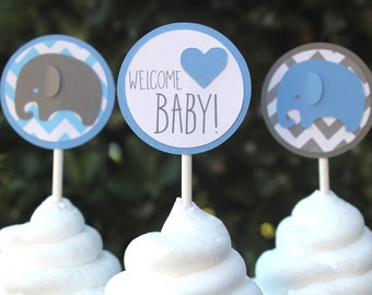 Elephant Cupcake Toppers  - Elephant Baby Shower - Elephant Toppers - Baby Elephant - Baby Boy Shower - Chevron Baby Shower