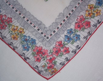 Vintage Black and White Hanky with Red Flowers - Hankie Handkerchief