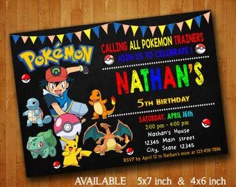 Pokemon Invitations Pokemon Birthday Party Invitation Pokemon birthday Digital File Pokemon Printable
