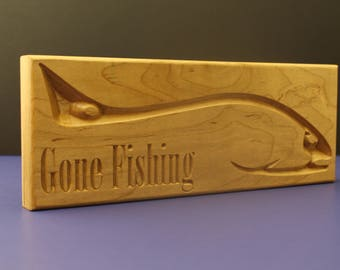 Gone Fishing Cherry,Fish Art, Office decor, Gift for Fisherman, Coworker gift,
