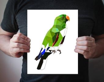 B92 - Eclectus parrot - Geometric bird art print, geometric poster, bird art, parrot, vivid green, wall art, wall decor, ...
