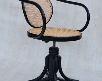 Bentwood handwoven Rattan swivel chair, model 5501 thonet for ZPM radomosk – 1880S