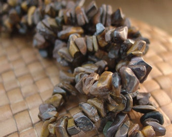 SALE:   2 x 30 inch strands Tigers Eye Chips - 50% Off