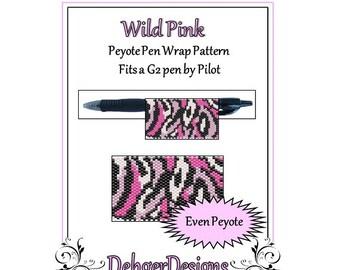 Bead Pattern Peyote(Pen Wrap/Cover)-Wild Pink