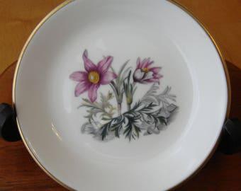 Royal Worcester Alpine Flowers dish Butter Pat Dish Trinket Tray Bon Bon Dish Fine Bone China