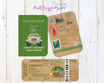 "Printable Safari Passport and Boarding Pass Birthday Invitation- Safari ""One-Derful"" Adventure- Any Age- Any Occasion"
