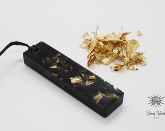 Black Resin Necklace With Gold Flakes Resin Minimal Resin Jewellery